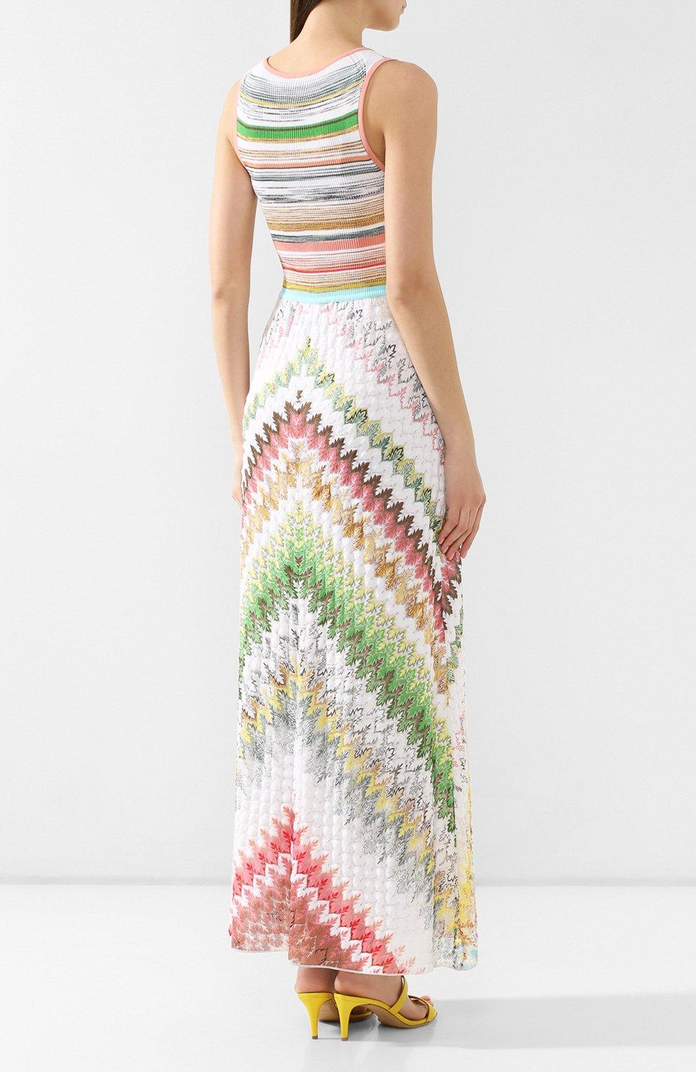 Платье из смеси вискозы и хлопка Missoni разноцветное   Фото №4