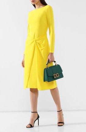 Женская сумка dg amore DOLCE & GABBANA зеленого цвета, арт. BB6675/AK295   Фото 2 (Статус проверки: Проверена категория, Проверено; Материал: Натуральная кожа; Размер: medium; Ремень/цепочка: На ремешке; Сумки-технические: Сумки через плечо, Сумки top-handle)