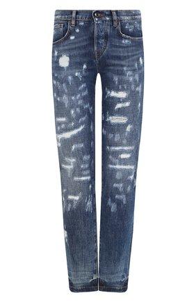 Женские джинсы с потертостями DOLCE & GABBANA синего цвета, арт. FTAY6D/G8V49 | Фото 1