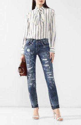 Женские джинсы с потертостями DOLCE & GABBANA синего цвета, арт. FTAY6D/G8V49 | Фото 2