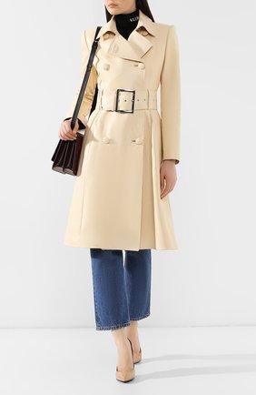 Женское кожаное пальто JITROIS бежевого цвета, арт. MANTEAU 0DE0N AGNEAU PL0NGE | Фото 2
