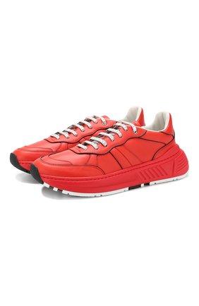 Мужские кожаные кроссовки BOTTEGA VENETA красного цвета, арт. 565646/VT040 | Фото 1