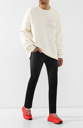 Мужские кожаные кроссовки BOTTEGA VENETA красного цвета, арт. 565646/VT040 | Фото 2 (Подошва: Платформа, Массивная; Статус проверки: Проверено; Материал внутренний: Натуральная кожа)