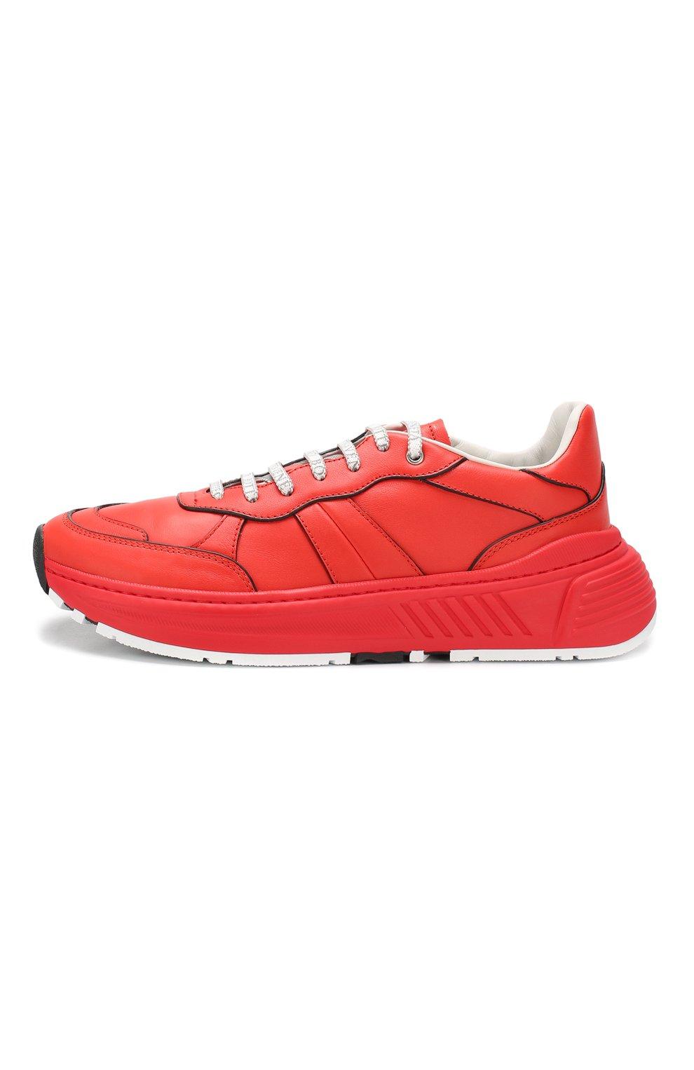 Мужские кожаные кроссовки BOTTEGA VENETA красного цвета, арт. 565646/VT040 | Фото 3
