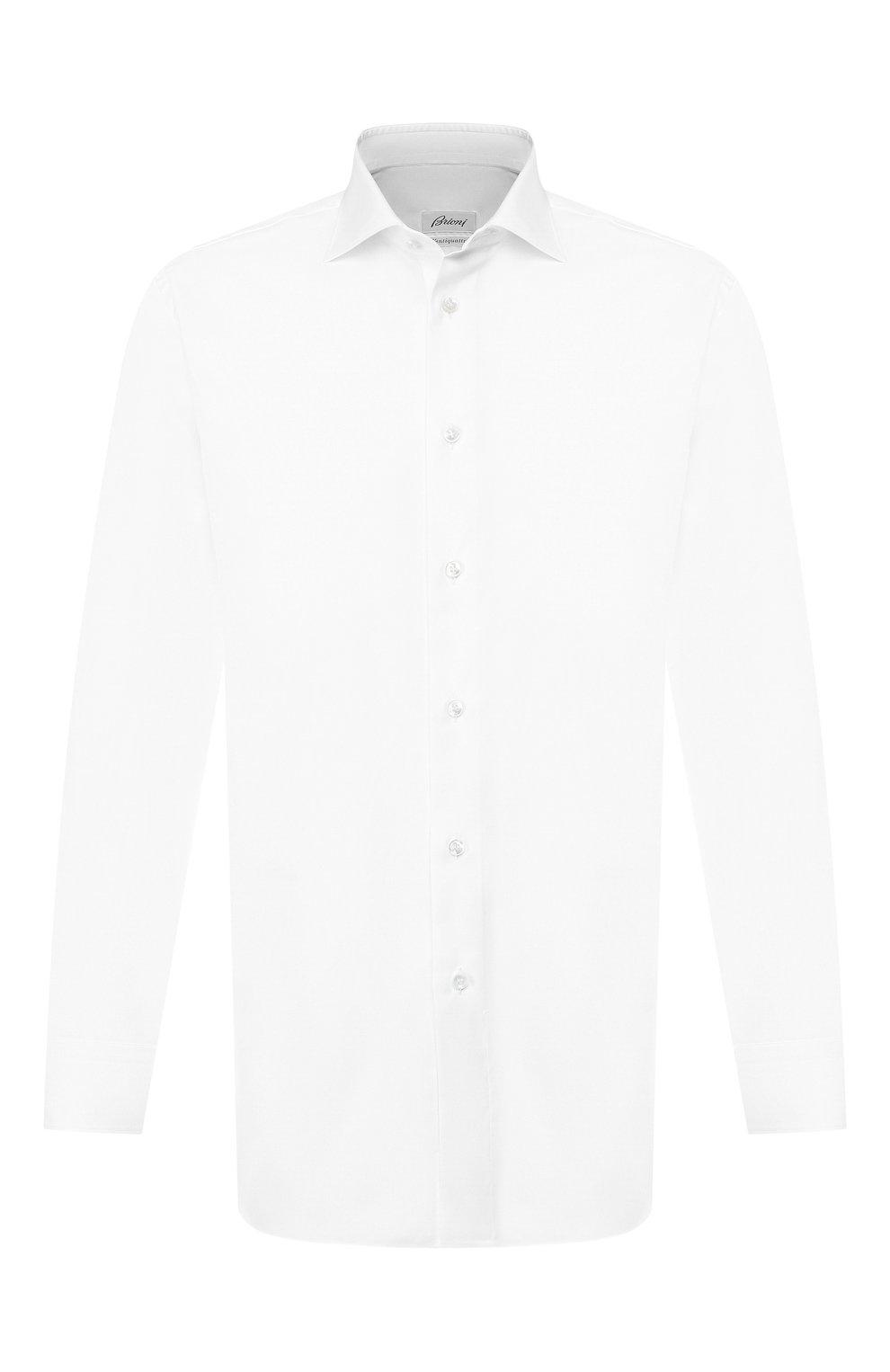 Мужская хлопковая сорочка BRIONI белого цвета, арт. RCL834/P7003 | Фото 1
