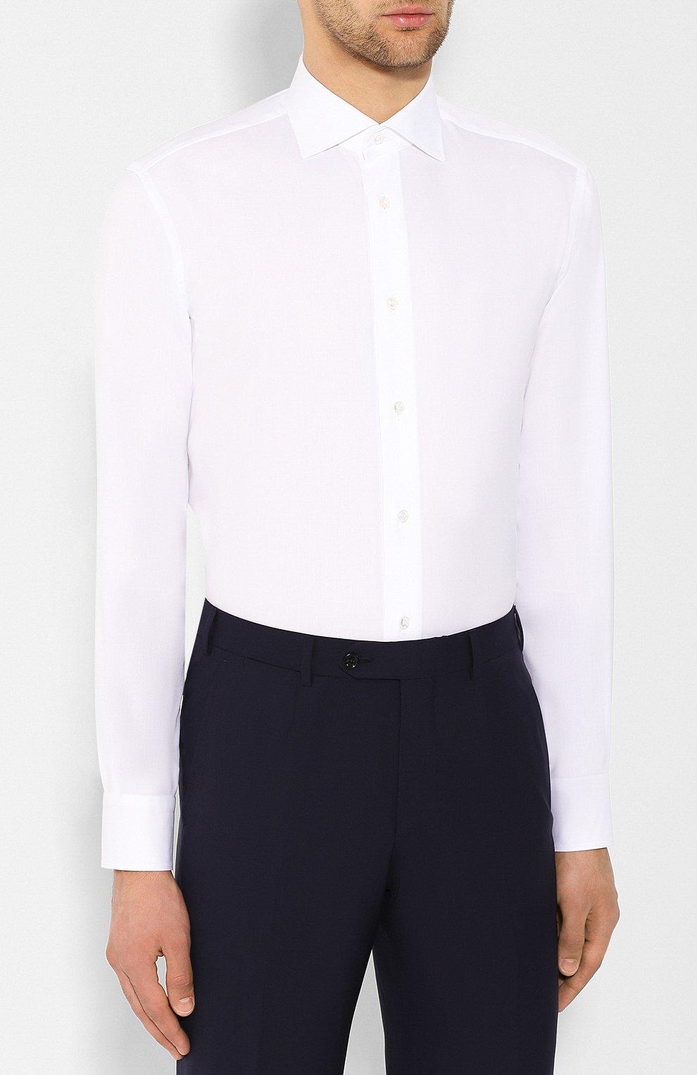 Мужская хлопковая сорочка BRIONI белого цвета, арт. RCL834/P7003 | Фото 3