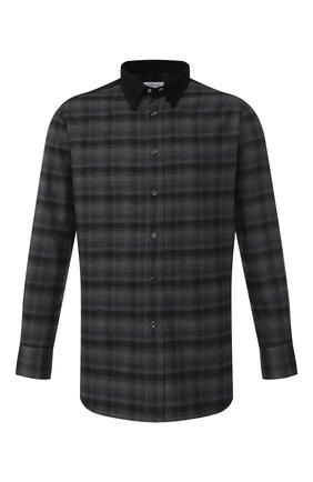 Мужская хлопковая рубашка BRIONI серого цвета, арт. SCAV0L/08014 | Фото 1