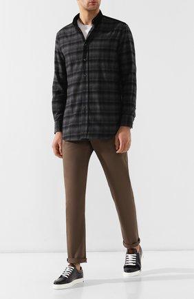 Мужская хлопковая рубашка BRIONI серого цвета, арт. SCAV0L/08014 | Фото 2