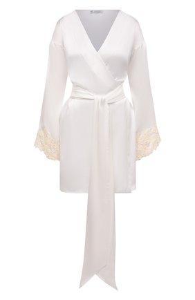 Женский шелковый халат LA PERLA белого цвета, арт. 0019230 | Фото 1
