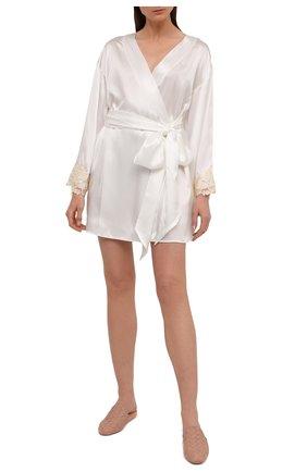 Женский шелковый халат LA PERLA белого цвета, арт. 0019230 | Фото 2
