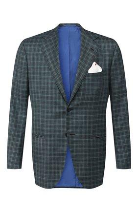 Мужской пиджак из смеси льна и кашемира KITON зеленого цвета, арт. UG81K06R08 | Фото 1