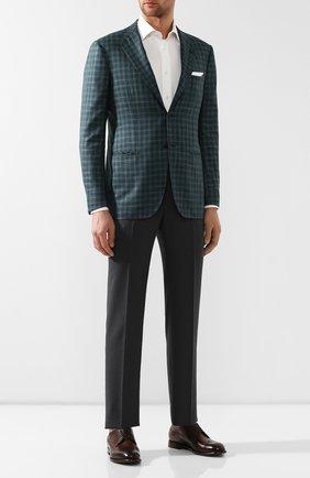 Мужской пиджак из смеси льна и кашемира KITON зеленого цвета, арт. UG81K06R08 | Фото 2