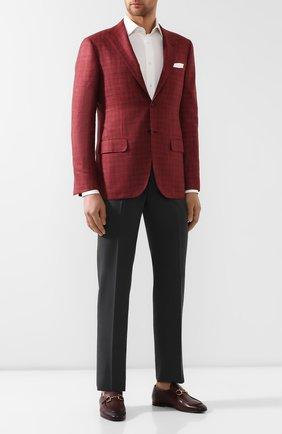 Мужской пиджак из смеси льна и кашемира KITON красного цвета, арт. UG81K06R08 | Фото 2
