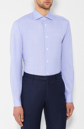 Хлопковая сорочка Isaia голубая | Фото №3