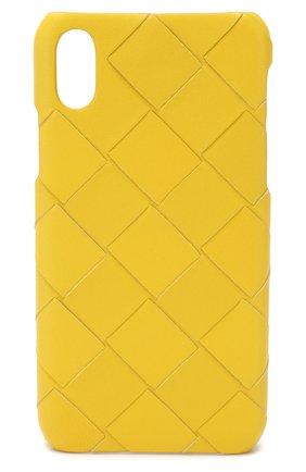 Мужской кожаный чехол для iphone x BOTTEGA VENETA желтого цвета, арт. 580150/V00BL | Фото 1