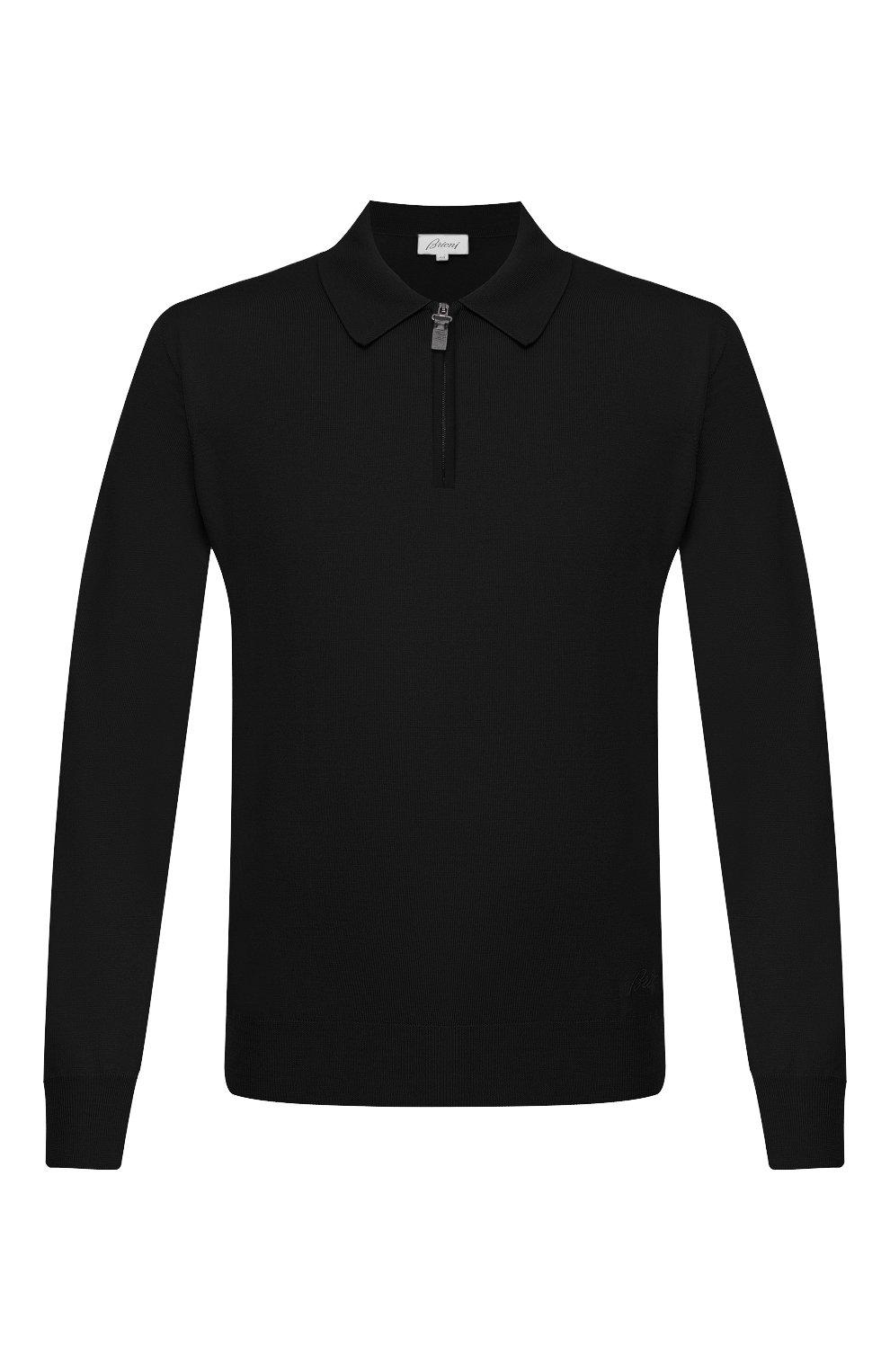 Мужское шерстяное поло BRIONI черного цвета, арт. UMS10L/0ZK18 | Фото 1
