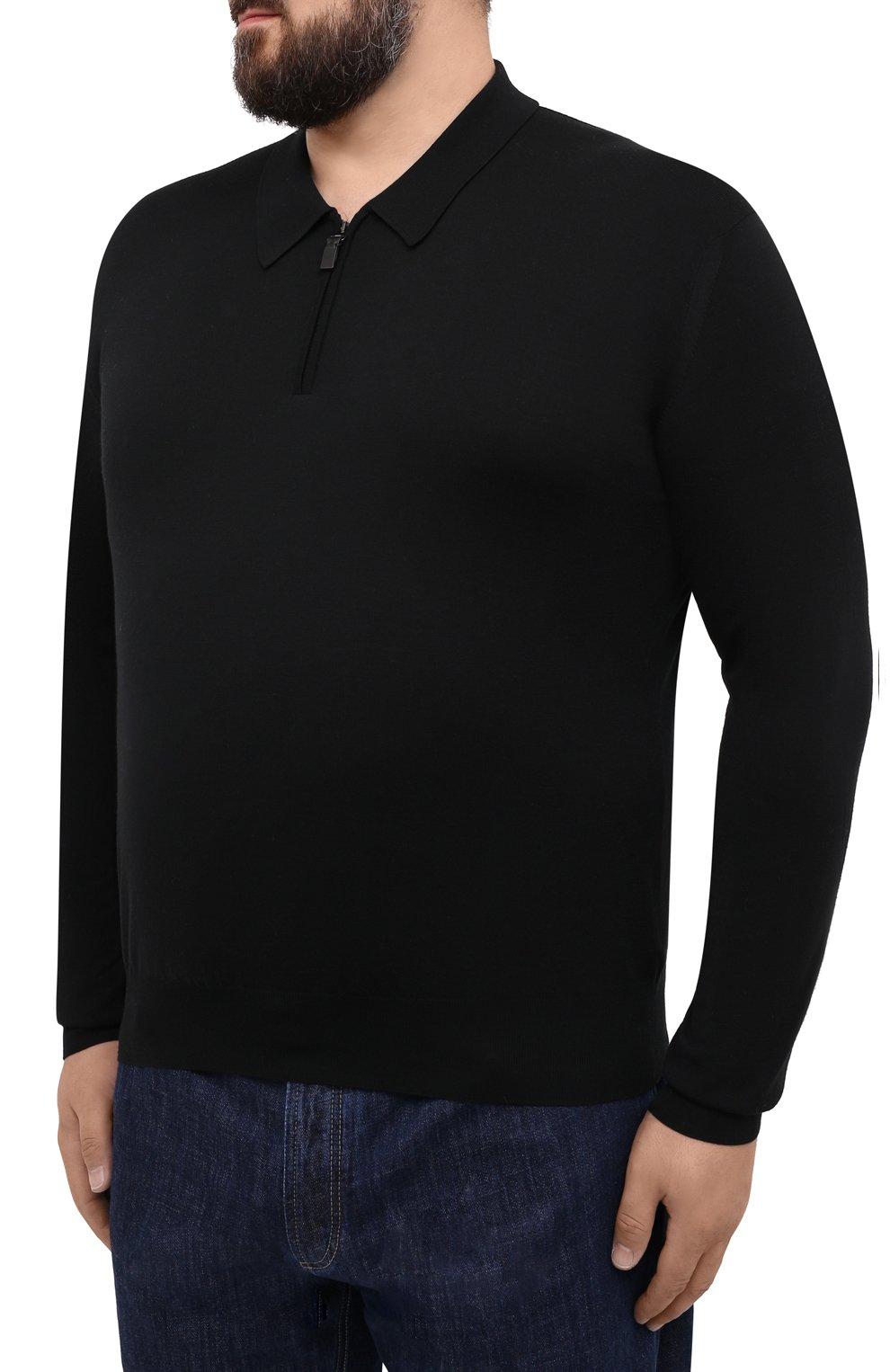 Мужское шерстяное поло BRIONI черного цвета, арт. UMS10L/0ZK18 | Фото 3