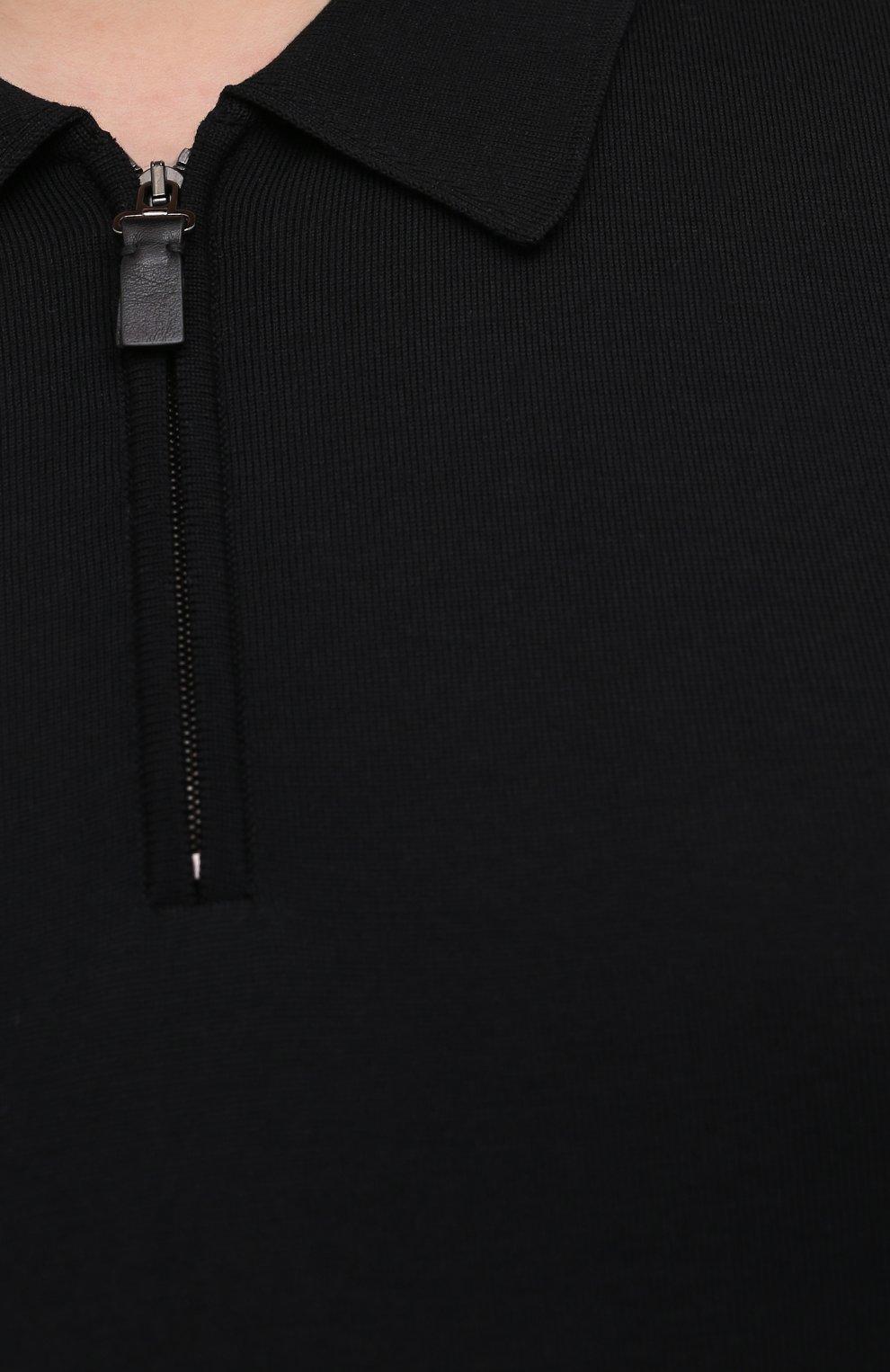Мужское шерстяное поло BRIONI черного цвета, арт. UMS10L/0ZK18 | Фото 5