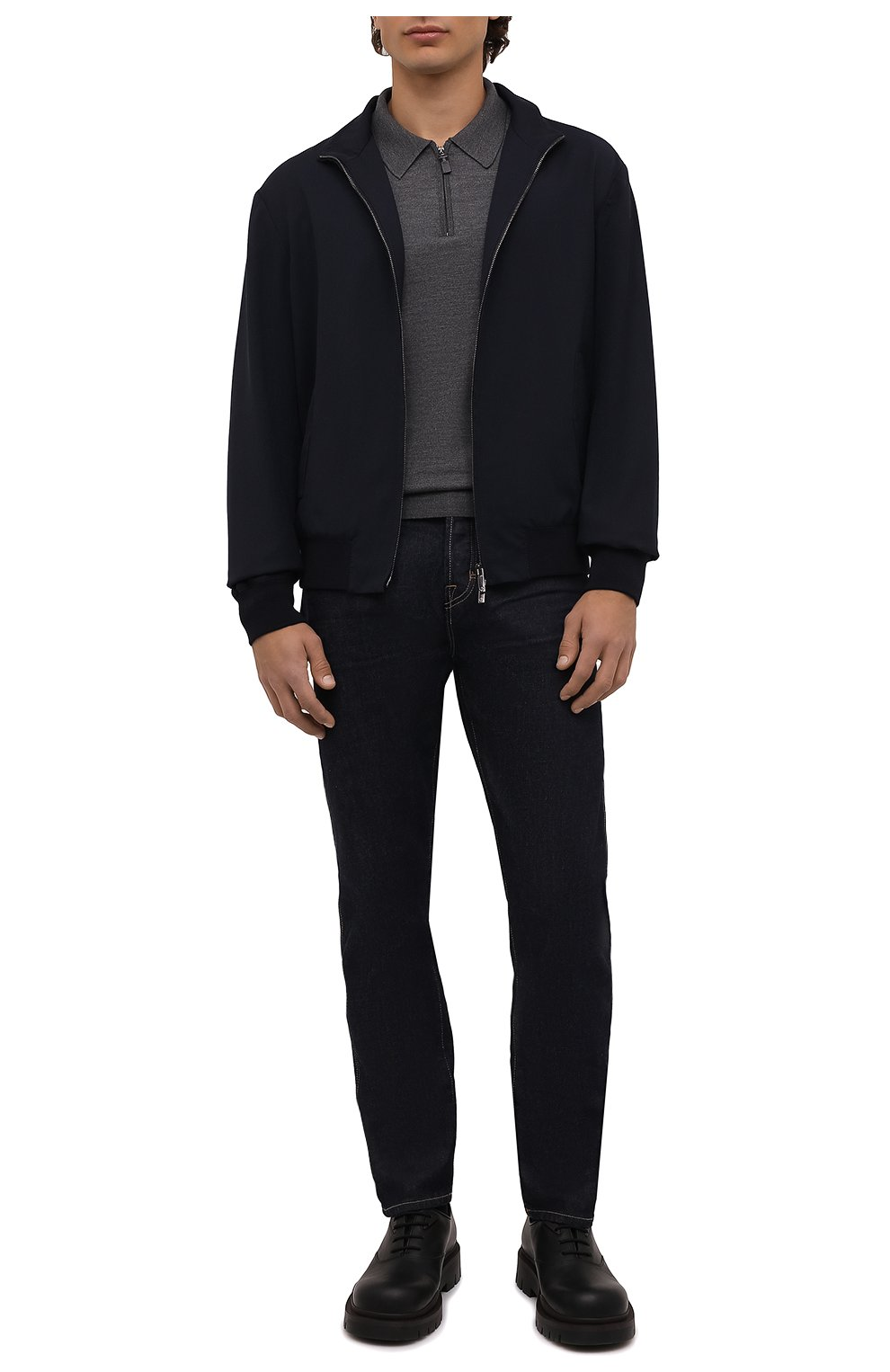 Мужское шерстяное поло BRIONI темно-серого цвета, арт. UMS10L/0ZK18 | Фото 2