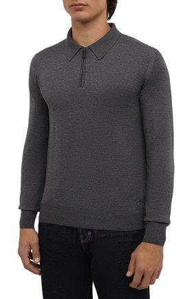 Мужское шерстяное поло BRIONI темно-серого цвета, арт. UMS10L/0ZK18 | Фото 3
