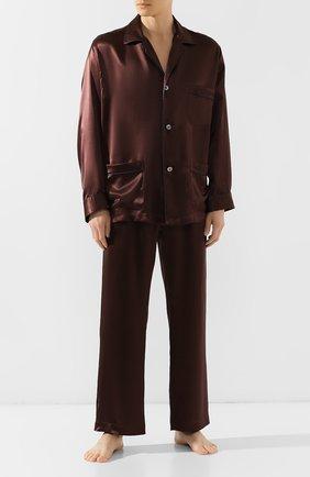 Мужская шелковая пижама BRIONI коричневого цвета, арт. NBP30L/PZ407 | Фото 1