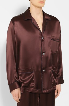 Мужская шелковая пижама BRIONI коричневого цвета, арт. NBP30L/PZ407 | Фото 2