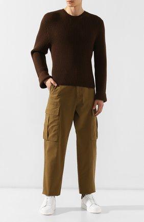Мужской свитер из смеси хлопка и кашемира BOTTEGA VENETA хаки цвета, арт. 577595/VKBH0   Фото 2