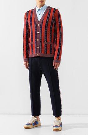 Мужской кардиган из смеси хлопка и шерсти GUCCI красного цвета, арт. 572622/XKAKW | Фото 2