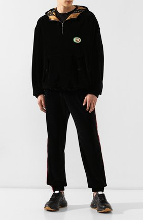 Мужские кожаные кроссовки rhyton GUCCI черного цвета, арт. 552851/DRW00 | Фото 2