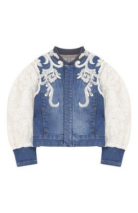 Джинсовая куртка с кружевной отделкой | Фото №1