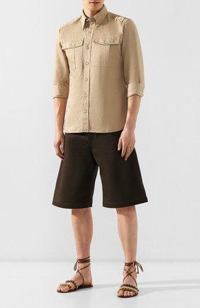 Мужские кожаные сандалии GUCCI коричневого цвета, арт. 563515/07M00 | Фото 2