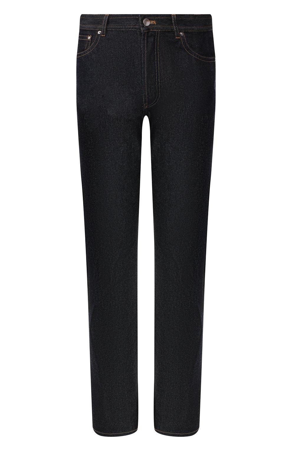 Мужские джинсы BOTTEGA VENETA темно-синего цвета, арт. 566888/VKBC0 | Фото 1 (Силуэт М (брюки): Прямые; Длина (брюки, джинсы): Стандартные; Материал внешний: Хлопок, Деним)