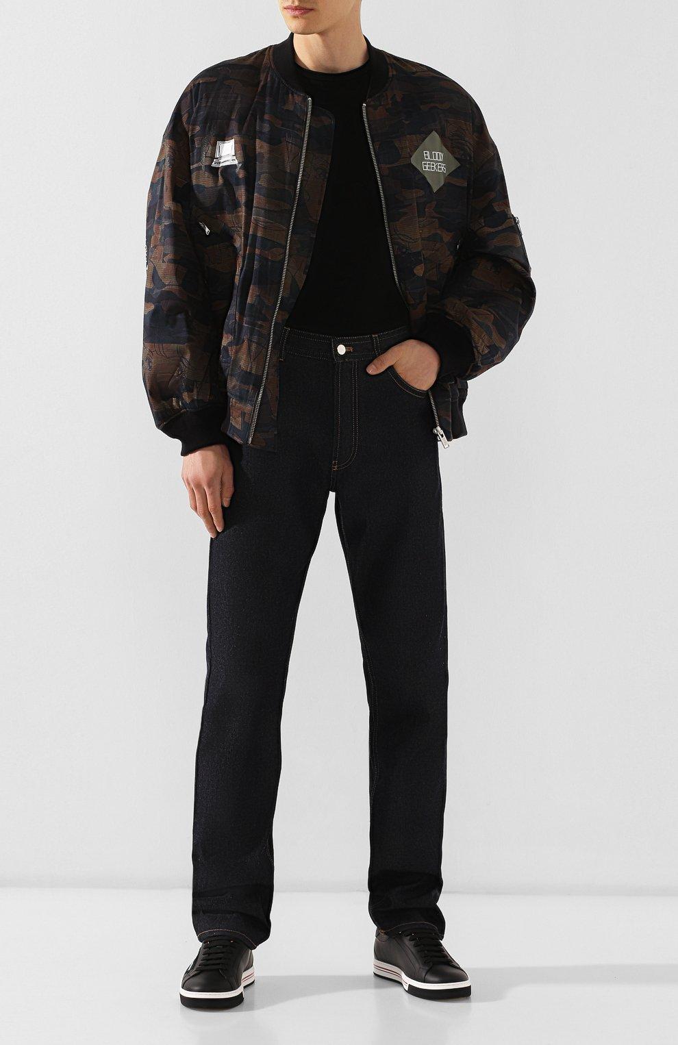 Мужские джинсы BOTTEGA VENETA темно-синего цвета, арт. 566888/VKBC0 | Фото 2 (Силуэт М (брюки): Прямые; Длина (брюки, джинсы): Стандартные; Материал внешний: Хлопок, Деним)