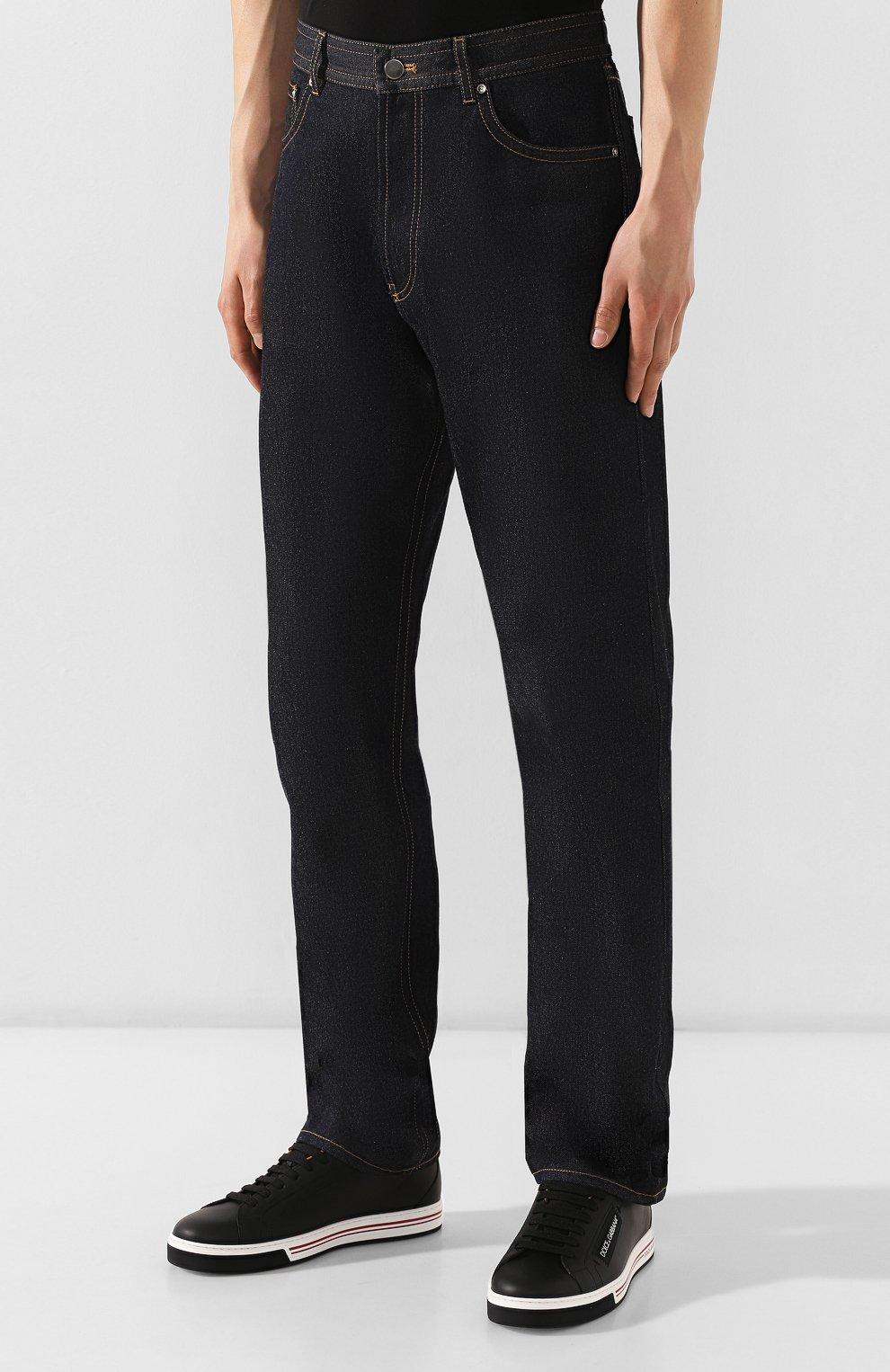 Мужские джинсы BOTTEGA VENETA темно-синего цвета, арт. 566888/VKBC0 | Фото 3 (Силуэт М (брюки): Прямые; Длина (брюки, джинсы): Стандартные; Материал внешний: Хлопок, Деним)