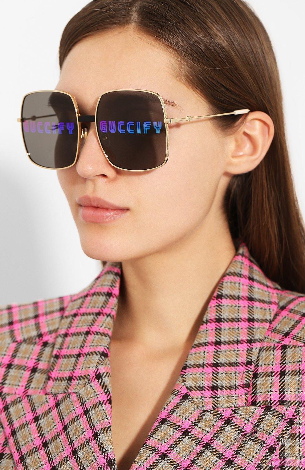 Солнцезащитные очки Gucci золотые | Фото №2