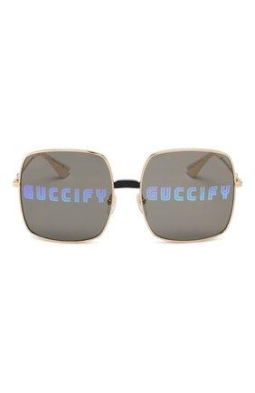 Солнцезащитные очки Gucci золотые | Фото №3