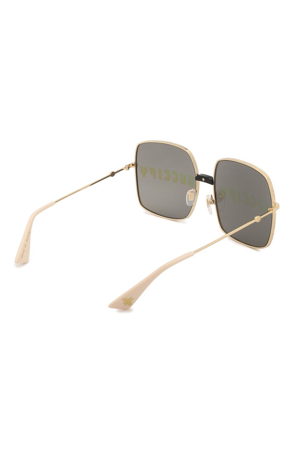 Солнцезащитные очки Gucci золотые | Фото №4