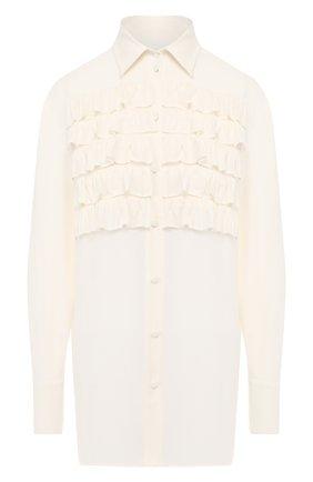 Женская шелковая блузка VALENTINO белого цвета, арт. SB3AB13Z1MH   Фото 1
