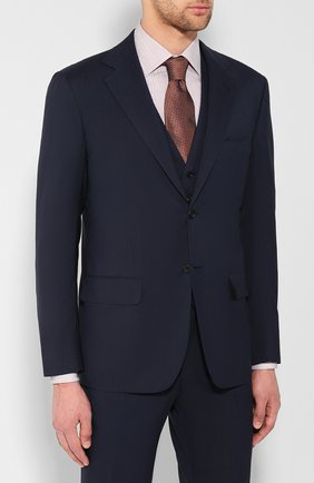 Мужской шерстяной костюм-тройка KITON синего цвета, арт. UAGL81K01X37 | Фото 2