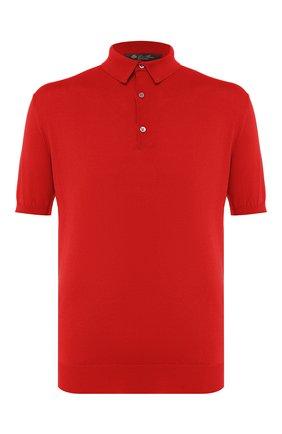 Мужское хлопковое поло LORO PIANA красного цвета, арт. FAI6175 | Фото 1