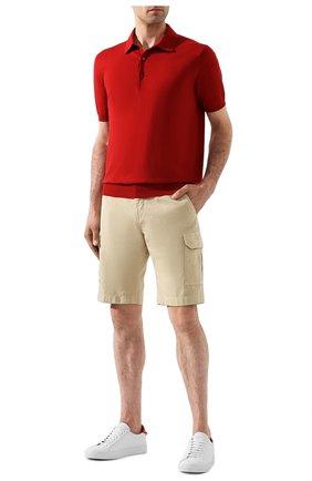 Мужское хлопковое поло LORO PIANA красного цвета, арт. FAI6175 | Фото 2