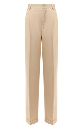 Женские хлопковые брюки POLO RALPH LAUREN бежевого цвета, арт. 211753158 | Фото 1