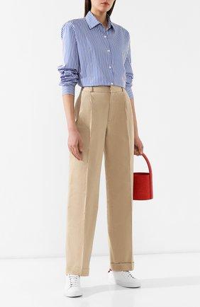 Женские хлопковые брюки POLO RALPH LAUREN бежевого цвета, арт. 211753158 | Фото 2