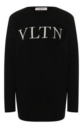 Женская пуловер из смеси шерсти и кашемира VALENTINO черно-белого цвета, арт. SB3KC1284AJ | Фото 1
