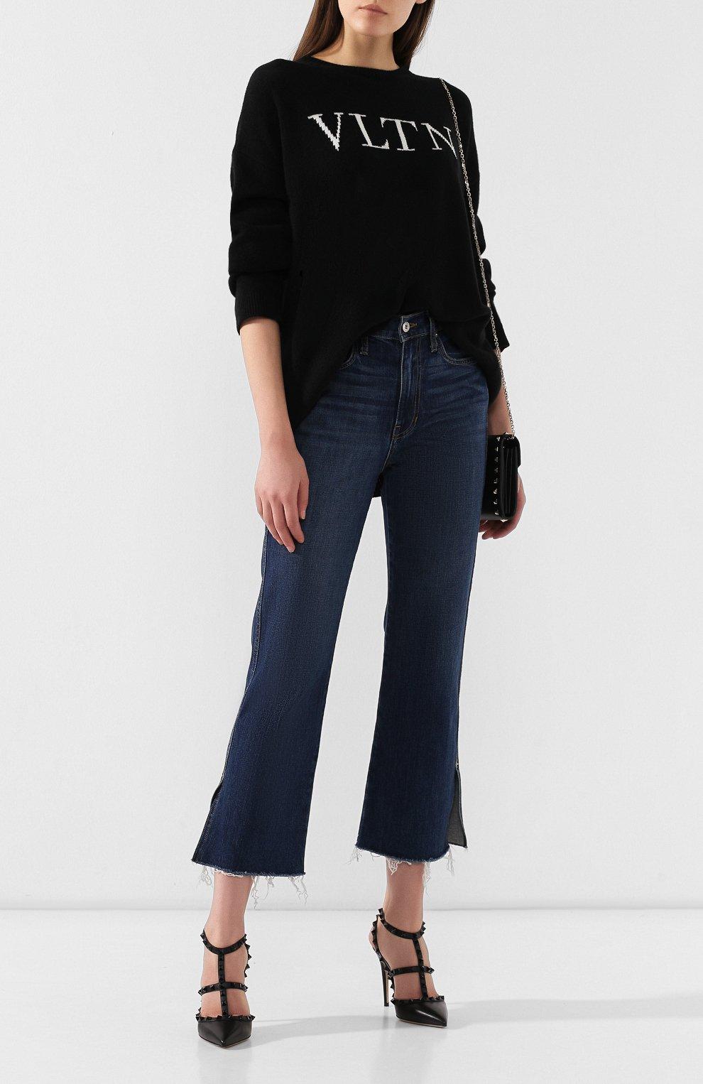 Женский пуловер из смеси шерсти и кашемира VALENTINO черно-белого цвета, арт. SB3KC1284AJ | Фото 2