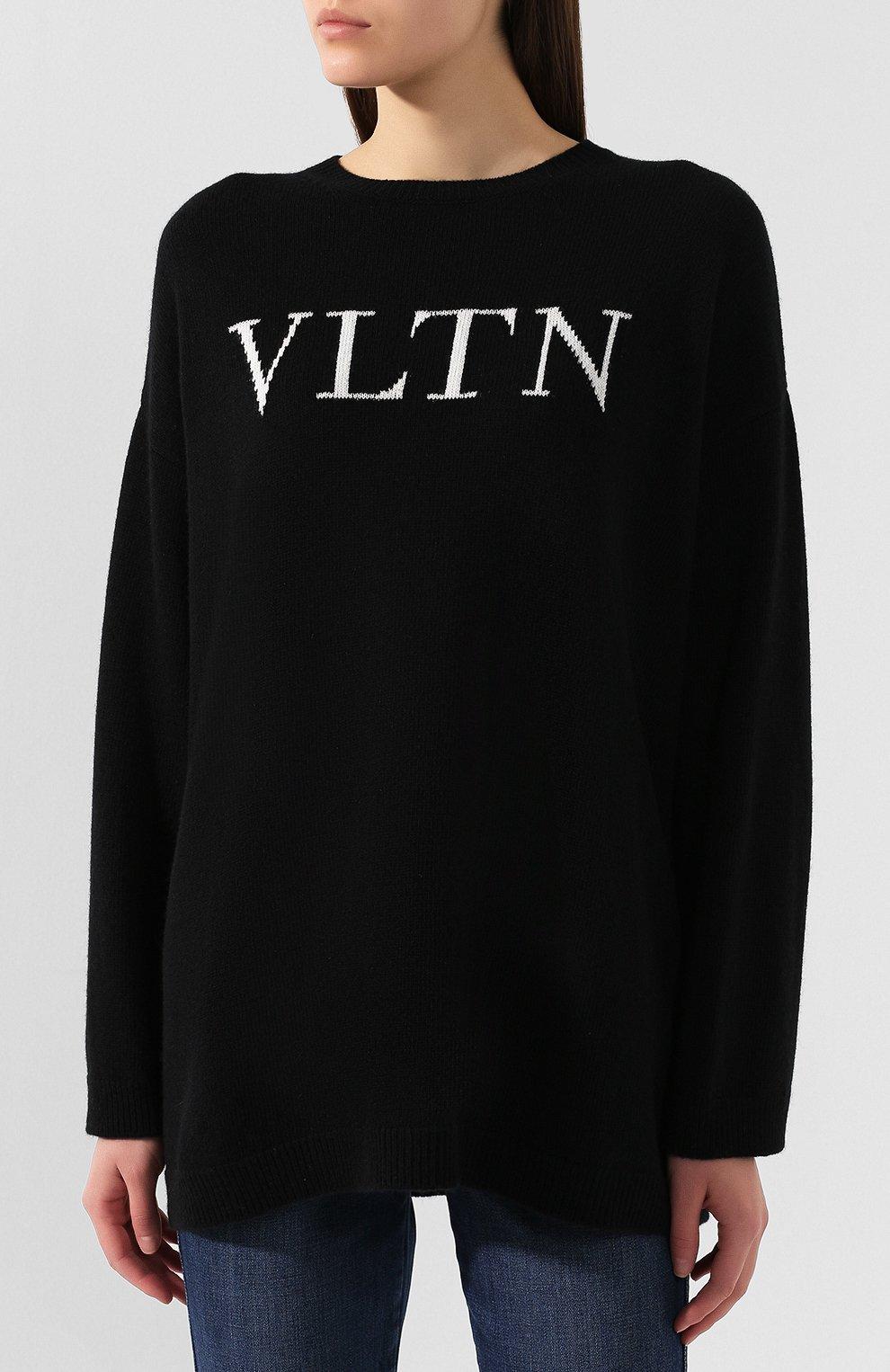 Женский пуловер из смеси шерсти и кашемира VALENTINO черно-белого цвета, арт. SB3KC1284AJ | Фото 3