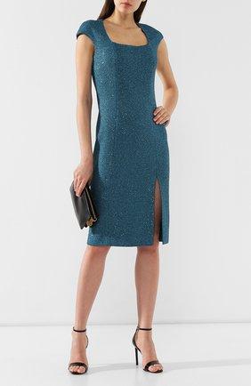 Платье с разрезом St. John зеленое | Фото №2