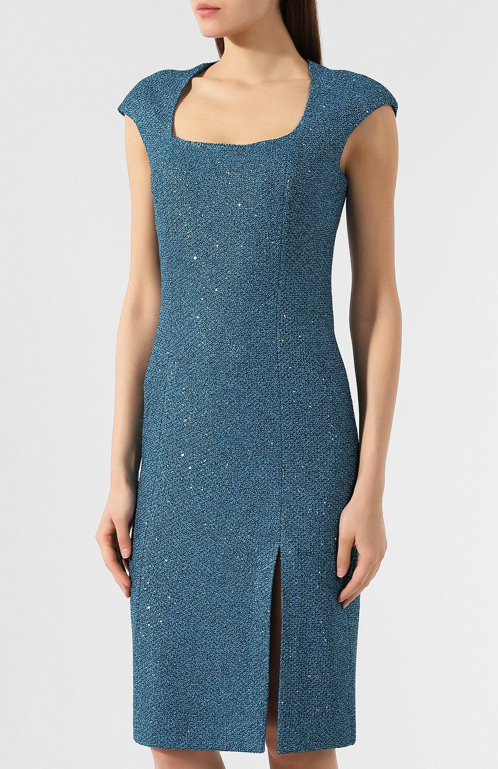 Платье с разрезом St. John зеленое | Фото №3